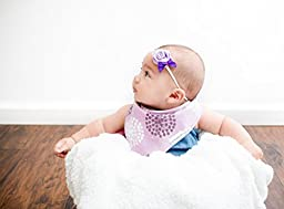 Baby Bandana Drool Bibs Organic 4 Pack for Girls with Snaps, Absorbent Soft Cotton for Teething Drooling Feeding, Baby Shower Gift, Newborn Registry Gift Set Burp Cloth (Pink Purple Coral Blue Heart)
