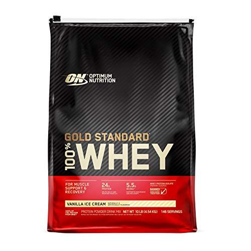 Optimum Nutrition 100% Whey Gold Standard, Vanilla Ice Cream, 10lbs