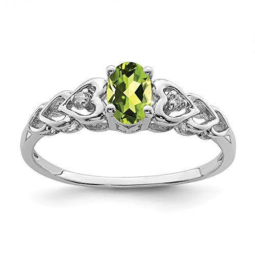 (925 Sterling Silver Green Peridot Diamond Band Ring Size 6.00 Set Birthstone August Gemstone Fine Jewelry Gifts For Women For Her)