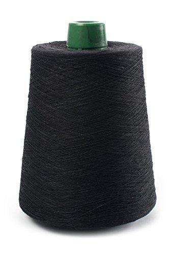 (Euroflax Linen Yarn - 100% Flax Linen - 1 LBS - Black Yarn Cone - 3 PLY - Sewing Weaving Crochet Embroidering - 3.000 Yard)