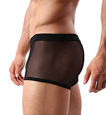 Mens Sexy Underwear Breathable Mesh Boxer Briefs See Through Hollow Lingerie - Black - X-Small