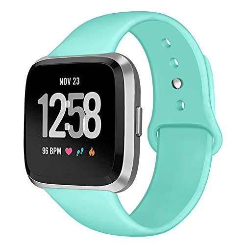 Teal Band - Kmasic Sport Band Compatible with Fitbit Versa/Fitbit Versa Lite Edition, Soft Silicone Strap Replacement Wristband Versa Smart Fitness Watch, Teal, Small