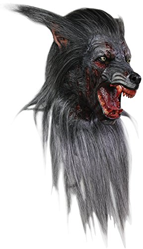 Men's Wolf Werewolf Mask Halloween Costume with Fur and Teeth ()