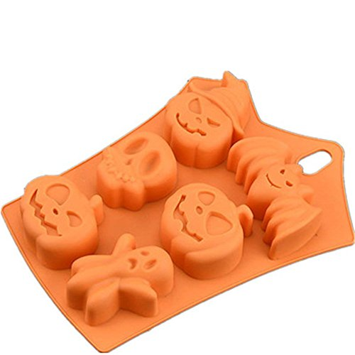 Fyuan Funny Bat Pumpkin Face Skull Ghost Silicone Fondant Cake Mold Chocolate/Sugar Craft/Ice Cube Tray, Halloween Party Sweets Decor Mould 2316.53CM - Orange for $<!--$10.99-->