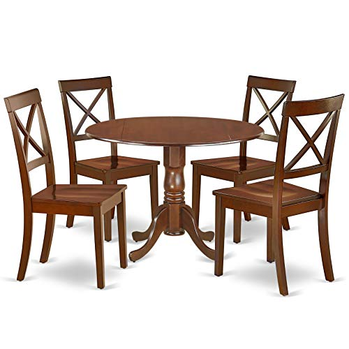 DLBO5-MAH-W 5Pc Rounded 42 Inch Kitchen Table With Two 9-Inch Drop Leaves And Four Wood Seat Dining Chairs (Dining Pedestal Table Mahogany Round)