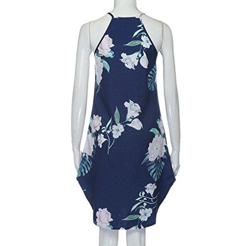 Dress Mini Dark Creazy Summer Asymmetrical Fashion Blue Dress Short Women Sleeveless Print xwg147qR