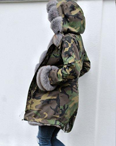 Trench Coat Size Hood Roiii 7006 8 20 Parka Warm Faux 14 Grau Jacket Fur Women Camouflage Winter Lining 7FwqHv