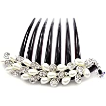 White Pearl & Rhinestone Peacock French Twist Updo Comb