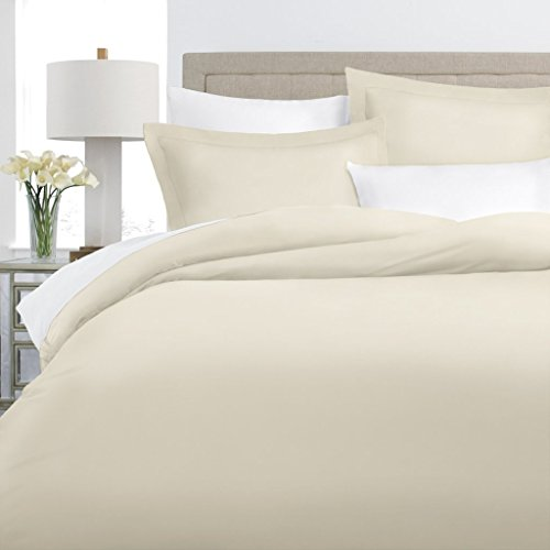 Italian Luxury 100% Long-Staple Combed Cotton Duvet Cover Set - Hypoallergenic Duvet Cover with Zippered Closure and Matching Shams - Full/Queen - Cream (Duvet Full Cream Cover)