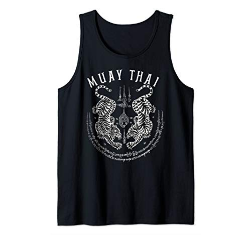 Muay Thai Gift Thai Boxing Tiger Vintage Tattoo Design Tank Top