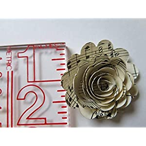 Scalloped Sheet Music Paper Flowers, 12 Roses, 1.5 Inch Rosettes, Music Theme Party Decor, Band Teacher Gift Idea 3