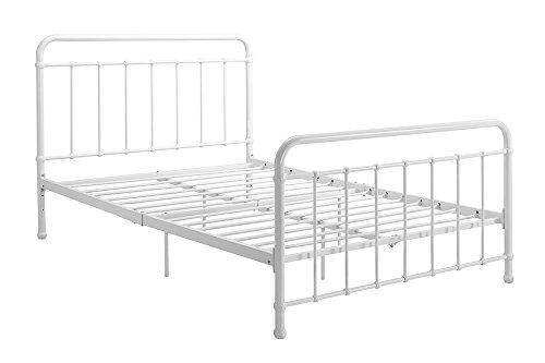 "DHP Brooklyn Metal Iron Bed w/ Headboard and Footboard, Adjustable height (7"" or 11"" clearance for storage), Sturdy Slats Included, No Box Spring Required, Full Size Mattress, White by DHP"