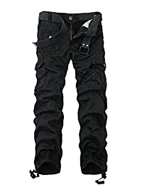 Men's Cotton Washed Slim-fit Multi Pockets Military Cargo Pant