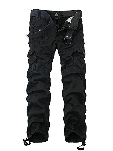 OCHENTA Men's Cotton Washed Multi Pockets Military Cargo Pant #3380 Black 36 -