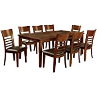 HOMES: Inside + Out Calista 9 Piece Transitional Style Dinning Set, Brown Cherry