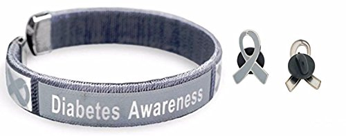(Adult Gray Diabetes Awareness Bangle Bracelet & Enamel Awareness Pin )