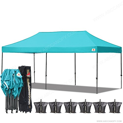 (18+ colors)AbcCanopy 10x20 Pop up Tent Instant Canopy Commercial Outdoor Canopy with Wheeled Carry Bag Bonus 6x Weight Bag (turquoise)