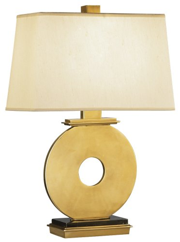 Robert Abbey 125 Lamps with Rectangular Pale Shell Dupioni Fabric Shades, Antique Brass - Lamp Robert Rectangular Table Abbey