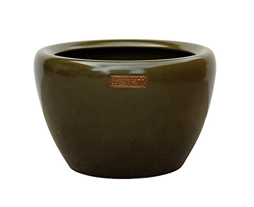 e Green Glazed Round Planter Pot Acs3535 (Chinese Olive)