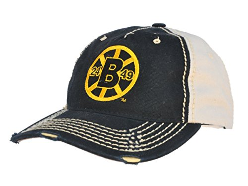 - Boston Bruins Retro Brand Black Beige Two Tone Stitched Vintage Snapback Hat Cap