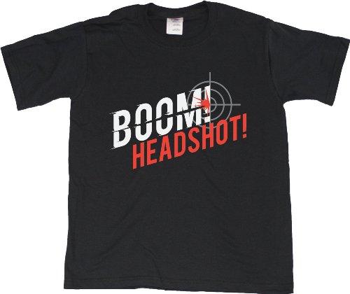 BOOM! HEADSHOT! Youth Unisex T-shirt / Video Game, FPS Gamer Humor Tee