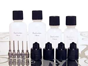Beachcombers! 1oz & 1/2oz Soft Squeeze Fine Metal Tip Applicator Bottles for Glues, Paint, Gels, Henna Paste, 5 Tips 4 Bottles