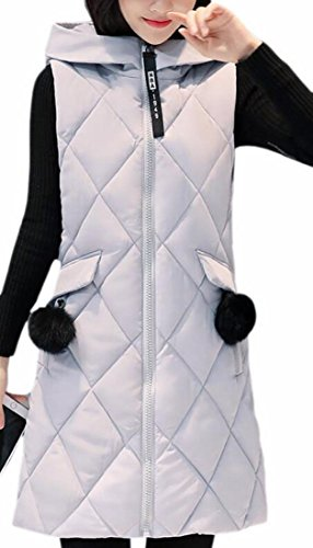 Long Vest uk Zip Down Fly Year Puffer Grey Quilted Full Fashion Women Hooded FxzPSwqz