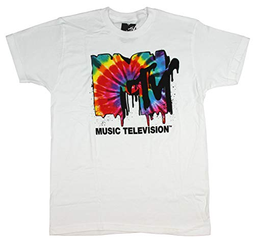 Seven Times Six MTV Mens' MTV Tie Dye Logo Drip T-Shirt (2X-Large) White ()