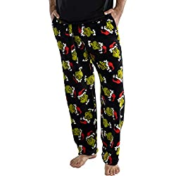 Dr. Seuss Men's The Grinch Who Stole Christmas Sneaky Face Fleece Plush Pajama Pants (Large) Black