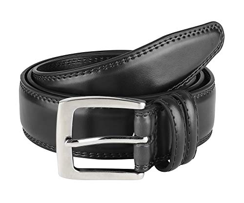 Men's Dress Belt ALL Genuine Leather Double Stitch Classic Design 35mm Black, 36