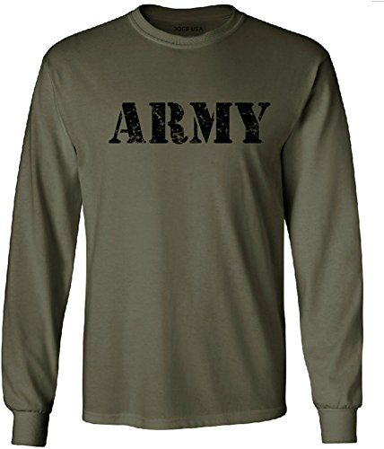Joe's USA TM - Vintage Army Military Green Long Sleeve T-Shirts-L (Hat Vintage T-shirt Top)