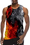 Men's Tank Tops 3D Printed Funny Fire Red Black T-Shirts Muscle Gym Compression Workout Undershirt Tunic Tight Slim Stringer A-Back Fancy Jersey Ringer Sport Vest for Teen Boys Casual Home Clothes