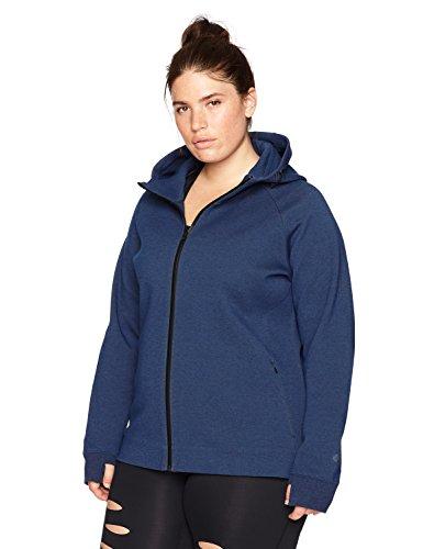(Core 10 Women's Plus Size Motion Tech Fleece Fitted Full-Zip Hoodie Jacket, Bolt Blue Heather, 1X)