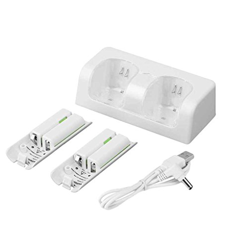 Dual Station Control - Egal Dual Slot Charger Station 2800mAh Rechargeable Battery for Wii Remote Control Rechargeable Battery Pack white
