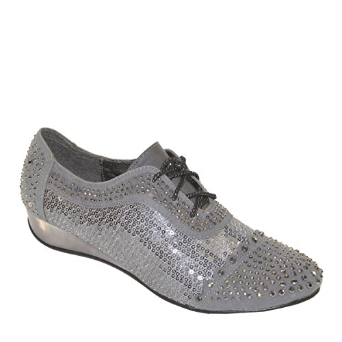 New Brieten Womens Sequins Rhinestone Lace Up Fashion Sneaker Pewter hfbTokH