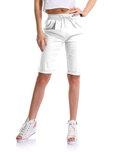 Women's Casual Drawstring Elastic Waist Knee Length Curling Bermuda Shorts White Tag M-US 2 ()