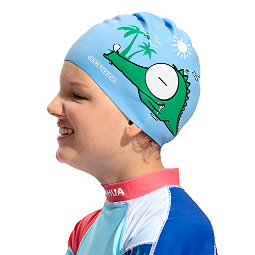 (COPOZZ Kids Swim Caps, Silicone Waterproof Comfy Swimming Cap Hat for Toddler Children Boys Girls Aged 5-12, Animal Pattern (3920-Crocodile-5-12yrs))