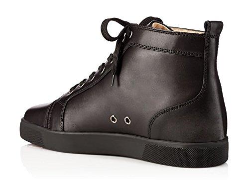 ZXD Dusky -Zapatillas Altas en Blanco o Negro Piel Vegana Cordones Casual Unisex Elegantes Negro