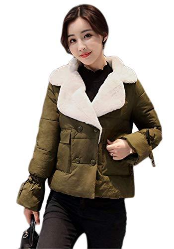 Collo Cravatta A Gr Pelliccia Lunga Farfalla Manica Casuale Donna Double Battercake Moda Coat Breasted Cappotto Giovane Piumini Outwear Invernali Corto Tasche Anteriori Donne yn0wvOmN8