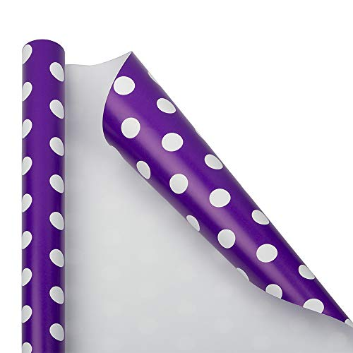 (JAM PAPER Gift Wrap - Polka Dot Wrapping Paper - 25 Sq Ft - Purple with White Dots - Roll Sold Individually)