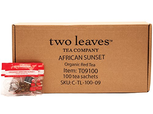 Two Leaves and a Bud Organic African Sunset Herbal Rooibos Tea Bags, 100 Count, Organic Whole Leaf Caffeine Free Tea in Pyramid Sachet Bags, Delicious Hot or Iced with Milk, Sugar, Honey or Plain