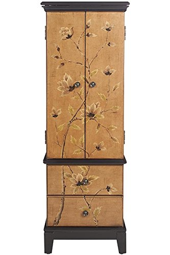 Lotus Jewelry Armoire, 46'Hx16'Wx12'D, TAN BROWN