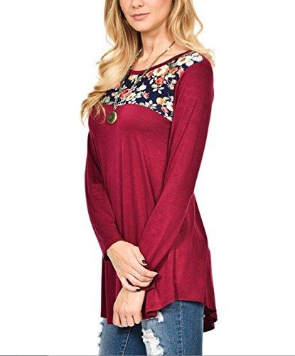 Manches Imprime Mi Tops Tunique Rouge Vin lgante Longues Col Blouses Shirt Haut Longue Moderne T Vrac Chemisiers Casual en Sweatshirt Rond Shirts Femme qnEwHYOWCn