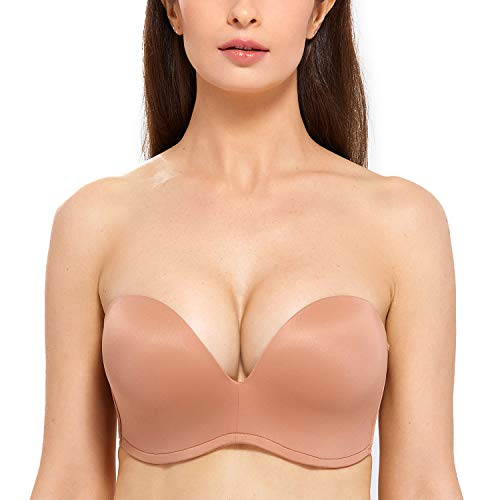 DELIMIRA Women's Slightly Lined Lift Support Invisible Seamless Plunge Strapless Bra Sun Kissed 38D
