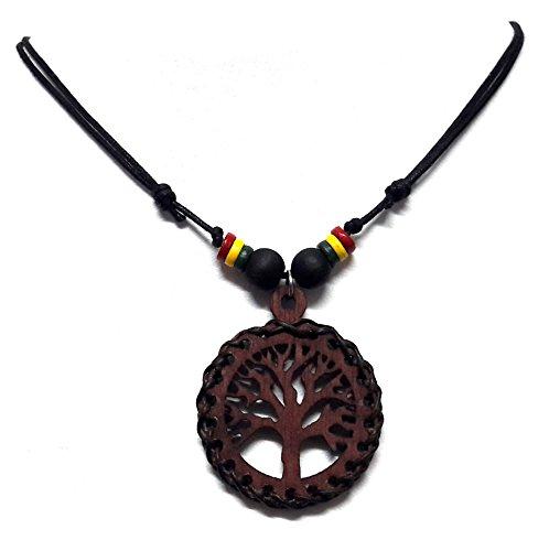 Brown Tree of Life Wood Pendant Necklace Handmade Hawaiian Style Rasta plaided Hippie Braid (Starfish Adult Costume)