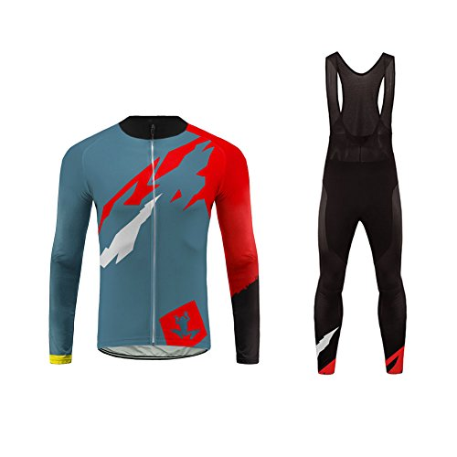 Uglyfrog Newest #01 Long Sleeve Cycling Jersey + Bib Tight Sets with Gel Pad Men Breathable Outdoor Sports Wear Spring Bicycle Racing/Triathlon Suit Quick Dry