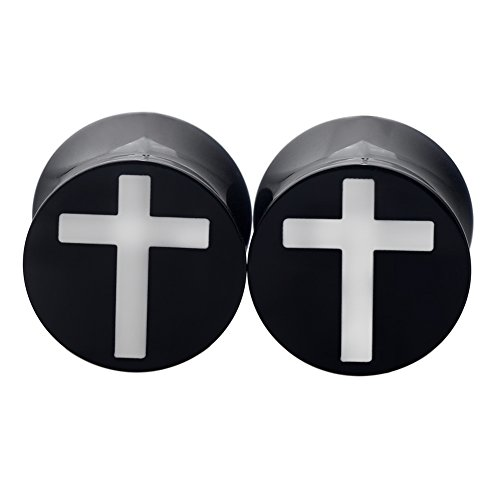 PHD LTD Acrylic Black Solid Jesus Christ Cross Puncture Double Flared Ear Plugs Tunnels Expander Piercing Set Gauge 2g