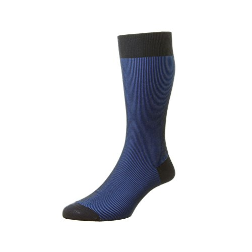 Pantherella Men's Mid Calf Santos Shadow Rib Dress Socks, Navy, ()