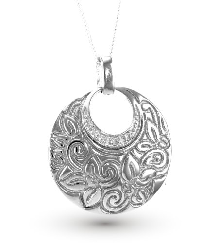 White Gold Plated (Rhodium Plated) 925 Sterling Silver with Clear Cubic Zirconia (White CZ) Round Pendant (chain not included) ()