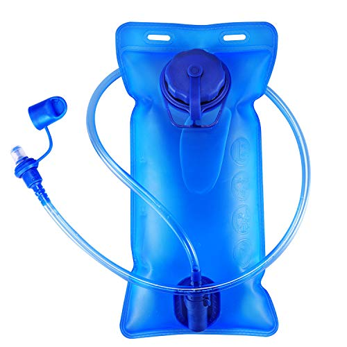 Hydration Bladder 2 Liter Water Bladder, SKL Upgraded Leak Proof Water Reservoir Hydration Pack Replacement with Quick Release Insulated Tube and Auto Shut-Off Valve for Climbing Cycling ()